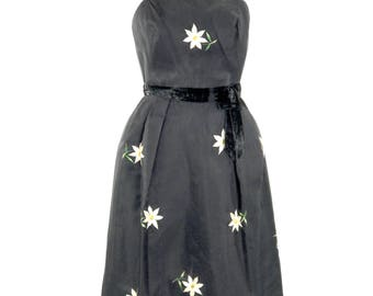 Vintage Early 1960s Black Organza with Embroidered Daisies Dress/ 60s Dress