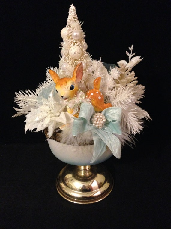 Kitsch deer christmas centerpiece vintage inspired spotted