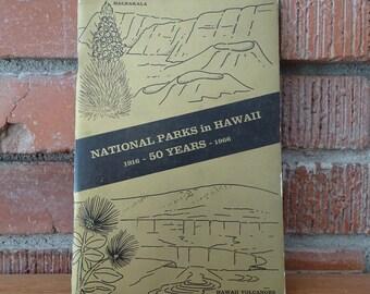 Vintage 1966 National Parks in Hawaii Book, 50 Years of Hawaiian Volcanoes History ~ 1916-1966, Haleakala Mauna Loa Kilauea Volcanoes ~