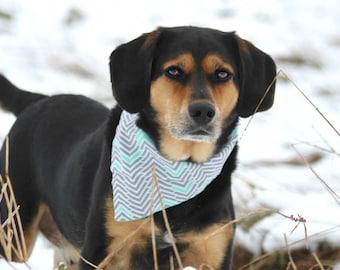 Dog Bandana - Dog Bandanas - Grey Dog Bandana - Chevron Dog Bandana - Dog Bandanna - Male Dog Bandana - Snap Dog Bandana - Dog Snapdana