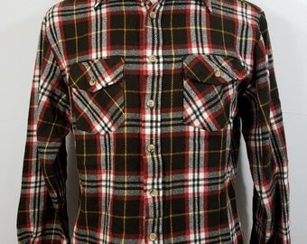 Vintage Mens Sears Plaid Button Shirt Lg 16-16.5 Acrylic Wool-Look Brown White Red C01
