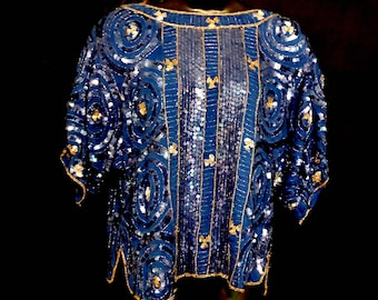 Royal Blue Sequin and Beaded Top         VG278
