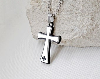 Black cross necklace stainless steel, brilliant cross pendant black frame, mens cross necklace, womens necklace cross, engraved cross chain,