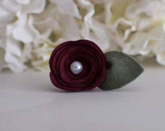 Burgundy Felt Mini Rose- ONLY sold  with a picture frame purchase from Kissel Ave.