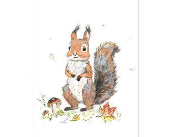 Squirrel Art Print,  Woodland Nursery Decor,  Giclee, Woodland Nursery Art,Forest Animals,Squirrel  Picture for Baby, Playroom Art