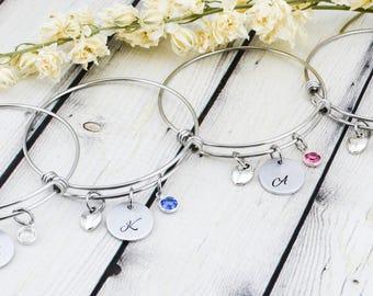 Custom Bridesmaid Bracelet - Hand Stamped Bridesmaid Initial Jewelry - Personalized Bridesmaid Gift - Bridal Jewelry - Best Friend Bracelet