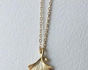 Ginkgo Biloba Leaf Gold Necklace