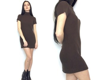 Vintage 90s Chocolate Brown Ribbed Short Sleeve Turtle Neck Mini Dress Body Con Size Small