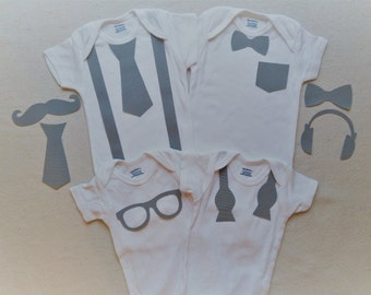 Any Colors 12Piece Hipster Iron-on Boy Custom Appliques, Suspenders, Untied Bowtie, Pocket, Glasses, Mustache, Headphones Baby Shower Onesie