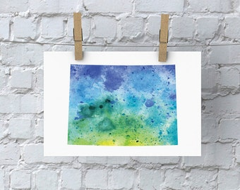 Colorado Watercolor Map - Giclée Print of Hand Painted Original Art - 5 Colors to Choose From