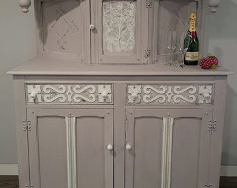 Large Grey Vintage Sideboard Cupboard Unit Decorative Storage Drinks Cabinet Painted Shabby Chic Distressed Upcycled Furniture