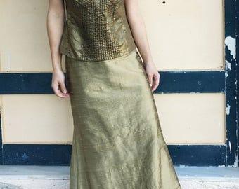 Vintage chic olive gold linen cotton taffeta top.size m