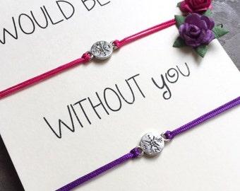 Friendship Bracelet Set, Compass bracelet, Friendship Bracelet , Lost without you,  Best Friend Gift, Matching Friendship bracelets, A29