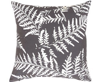 Charcoal Pillow Cover. Charcoal and Natural Pillow. Fern Cushion. Australian Pillows. Australian Screen Printed Pillow. Fern Throw Pillow.