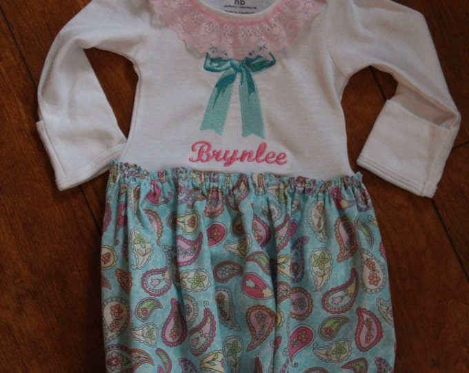 Baby Girl Coming home gown, Take Me home outfit, Baby personalized gathered bodysuit gown, Aqua blue Paisley baby gown, Aqua blue headband