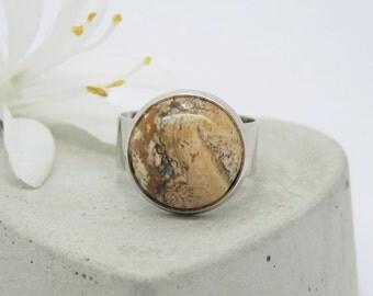 Stylish ring with yellow jasper Gift