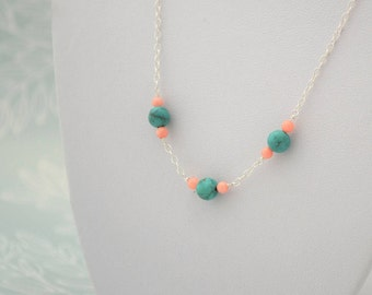 Turquoise and Coral Beaded Statement Necklace, Sterling Silver Wire Wrapped Bohemian Gemstone Jewelry