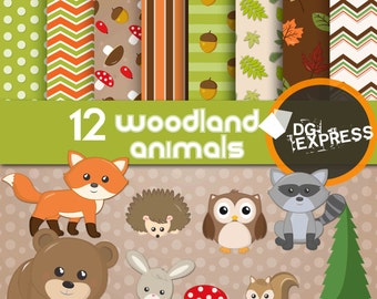 "Woodland Animals Clipart & Digital Paper : ""FOREST ANIMALS DIGITAL Paper"" - Woodland Clip art, Forest Scrapbook, Squirrel, Raccoon Printable"