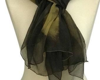 Brown Scarf, Eco Print, Silk Chiffon Scarf, Woman's Scarves, Gift For Women, Chiffon Scarves,  Scarves and Shawls, Hand Made Scarf, Chiffon