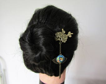 Cloisonné Bird Hair stick with a tassel and a Fan, Enamel hairstick, kanzashi, hairstick, Hummingbird hairstick, Oriantal hair stick, Hair