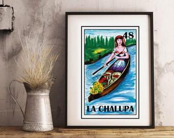Mexican loteria, La chalupa loteria, Frida Kahlo Art, Frida Kahlo print, Mexican woman, Mexican Bingo, Mexican Wall Art, Mexican Pop Art