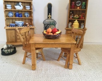 Oak Table, Two Chairs and Fruit Basket Centerpiece for 1:12 Scale Dollhouse (additional chairs available)