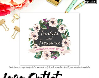 Watercolor Floral Logo Design - Includes files for Web + Print + Watermarks! Perfect for Boutique, Photographer, Vintage Shop + much more!