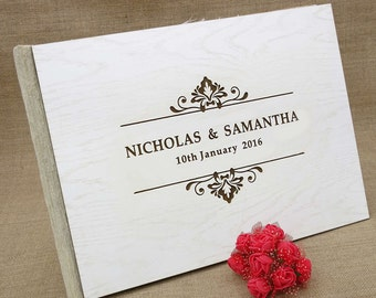 Personalized Wedding Guest Book, Wood Wedding Guest Book, Rustic Wedding Guest Book, Custom Guest Book, Wood Guest Book Gift GB22