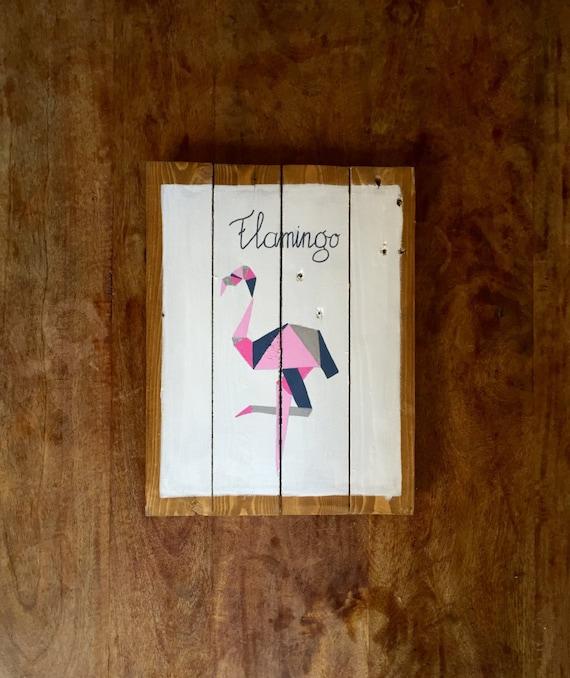 Flamingo panneau en bois d coratif peinture sur bois for Panneau de bois decoratif