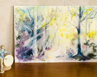 Original watercolor of undergrowth in spring, trees in the forest -trees and branches at spring, woods original painting -light in the trees