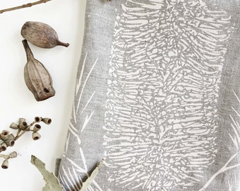 Banksia Linen Tea Towel Screen Printed, Handmade in Australia- sustainable fabrics