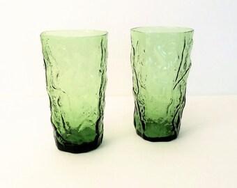 Seneca Driftwood Green Morgantown Tumblers, Crinkle Glass, Green