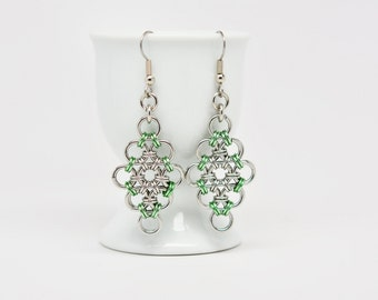 Japanese Diamond Earrings in Stainless Steel and Seafoam Green Anodized Aluminum