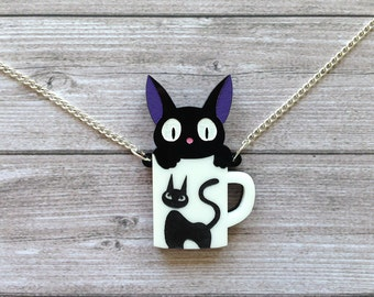 Jiji and his cup necklace from Kiki's delivery service - Ghibli, Miyazaki, geek, cute, kawaii, black cat, laser cut acrylic, handpainted