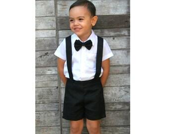 Boy Suspender Shorts-Black,Linen Shorts,Page Boy,Christening Outfit,Ring Bearer,Baptism boy,Shorts with Braces,Wedding attendant boy