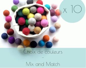 10 Felt balls/2.5 cm/wool pompom/DIY/beads/bulk/choice of color/multicolor/felting/wholesale/creative project/Québec/Canada