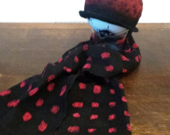 Handmade BLACK and RED square nuno felt scarf, felted wrap made with silk chiffon