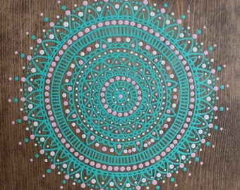 Mandala Handpainted Sign-Beachy Bohemian-Mandala Sign- Bohemian Art- Beach Art-No stencils- Boho Decor