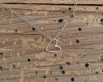 Mini Floating Heart Necklace - Sterling Silver