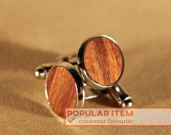 Natural Silver Wooden Cufflinks, Native Tasmanian Blackwood, Orange oil, Handmade Gift, Groomsman Groom, Wedding, Personalized, Elegant