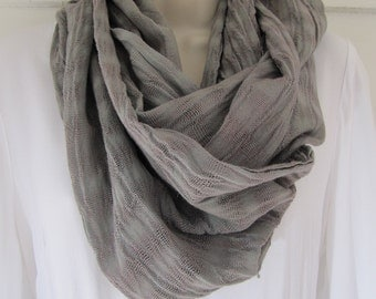 Cotton scarf with fringe, hand woven in Java, hand-dyed muted green with fiber-reactive dye