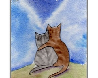Mother's Day Card   Hand Painted.. (not a print)  Kitty Love