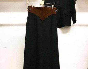Sold in store. Do not buy. Vintage Seventies 1970s Womens Wool Blend Coordinate Suede Trim Ensemble Jacket Skirt