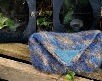 Sea&Sand coloured Bag-In-The-Bag, handmade, felted with leather tag