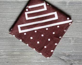 Vintage Hankie Pocket Square, Brown Linen Geometric Hankerchief