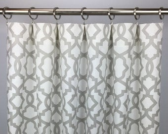Light Gray Moroccan Curtains - FREE SHIPPING - Gray Quatrefoil Rod-Pocket Drapes -Grommets - Lined/Unlined - Valance- 24 50 x 84 96 108 120