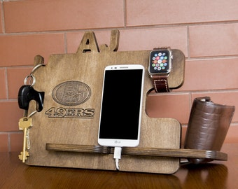 Personalized 49ers docking station - iPhone charging stand, gift idea - Mens charging dock, Gift for Men