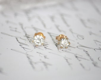 1.18ct (TW) 5.60mm Moissanite Stud Earrings in 9K Yellow Gold with Friction Backs