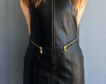 Vintage 80's Women's Sleeveless Black Leather Bodycon Biker Dress with Heavy Duty Zipper Detail Size L