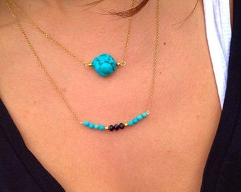 Turquoise Stone Necklace, Turquoise Necklace, Turquoise Pendant, 24k Gold Filled Necklaces from Sterling Silver 925, Made in Greece.